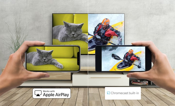 En Android og smarttelefon som caster medier til en TV fra Sony med Apple AirPlay og Chromecast
