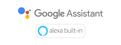Logo for innebygd Google Assistant og Alexa